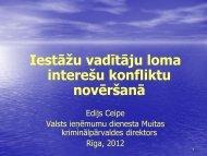 Iestāžu vadītāju loma interešu konflikta novēršanā - KNAB