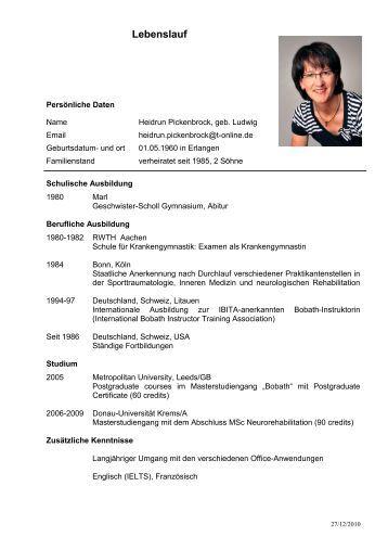 lebenslauf pdf pneumologisch internistische - Schriftgre Lebenslauf