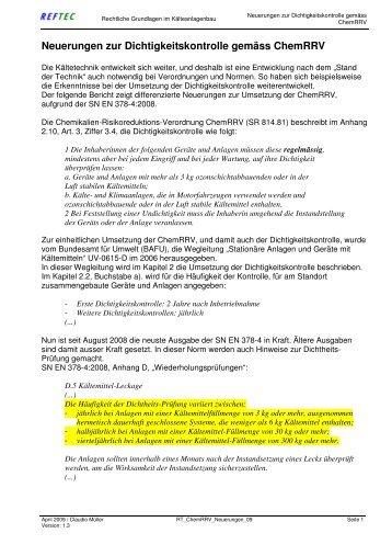ChemRRV Neuerungen durch EN 378-4:2008 - Reftec.ch