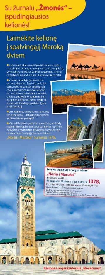 Laimėkite kelionę į spalvingąjį Maroką dviem - 15min.lt