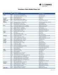 Providence Choice Medical Home List - Providence Health Plan