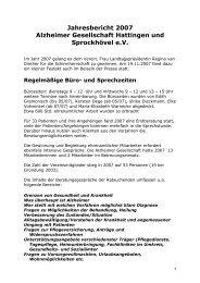 Jahresbericht 2007 - Alzheimer Gesellschaft Hattingen und ...