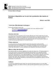 Données à disposition sur le suivi de la protection des ... - KBNL