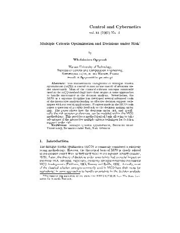 No. 4 Multiple Criteria Optimization and Decisions under Risk1 by ...