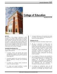 College of Education - University Catalogs