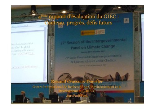 Le 4ème rapport d'évaluation du GIEC - Centre International de ...