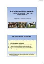 1. Současný stav světové výroby mléka a předpokládaný ... - viamilk