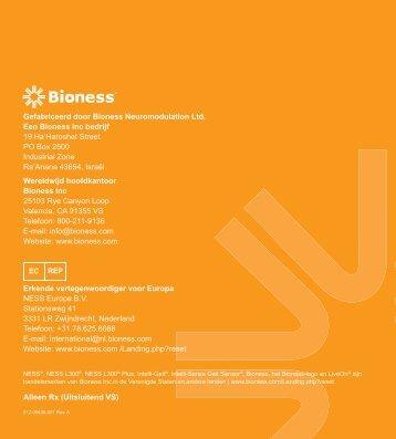 Handboek gebruikers - Bioness Inc.