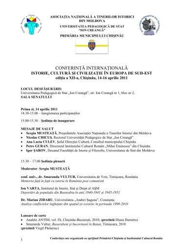 AGENDA (Document PDF ) - Asociatia Tinerilor Istorici din Moldova
