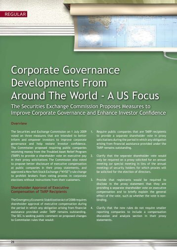 Corporate Governance Developments From Around The World - A ...