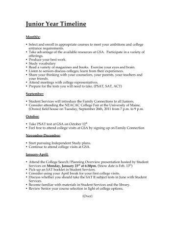 Junior Year Timeline 11 - George Stevens Academy