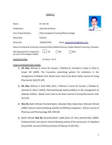short cv-1 Dr. Niaz Ali.pdf - Institute of Basic Medical Sciences ...