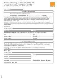 Antrag und Vertrag für Besitzerwechsel von Orange Business zu ...