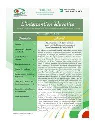 Vol. 8 no. 2 - Centre de recherche sur l'intervention éducative (CRIE)