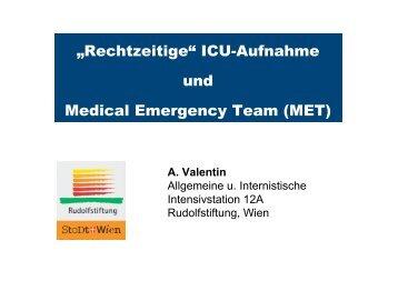 ICU-Aufnahme und Medical Emergency Team - Austrian ...