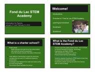 STEM Academy Parent Presentation - Fond du Lac School District