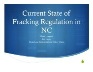 Current State of Fracking Regulation in NC - Clean Water for North ...