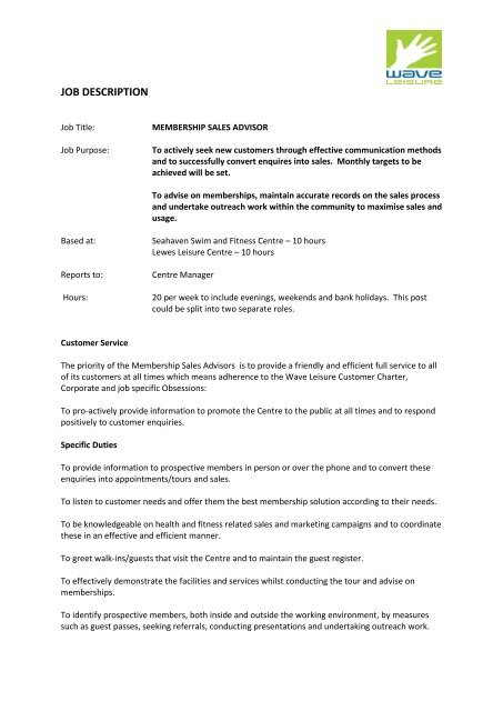 job description for sales assistant