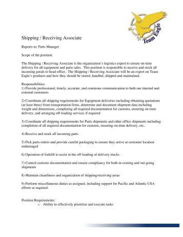 JD Shipping Receiving Associate   Team Eagle Ltd.