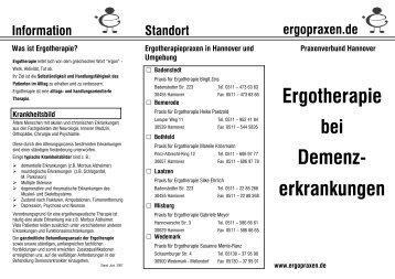 Ergotherapie Demenz- erkrankungen - Praxen für Ergotherapie