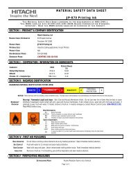 JP-K70 Printing Ink | Material Safety Data Sheet : Hitachi America, Ltd.