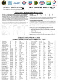 Company's Scholarship Programme - TOTAL Nigeria