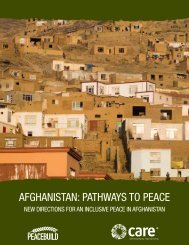 AFGHANISTAN: PATHWAYS TO PEACE - CARE Canada