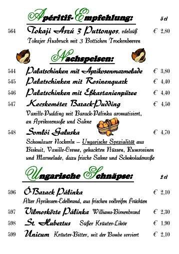 """Desserts & Schnäpse - Hotel """"Zur Mainlust"""""""
