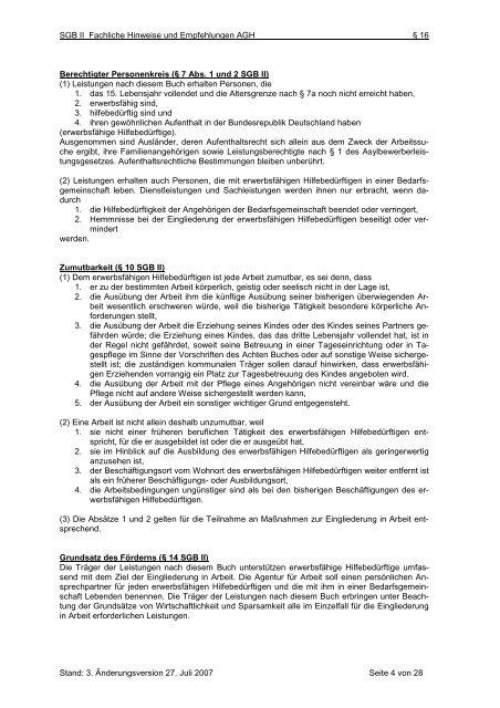 SGB II Arbeitshilfe AGH