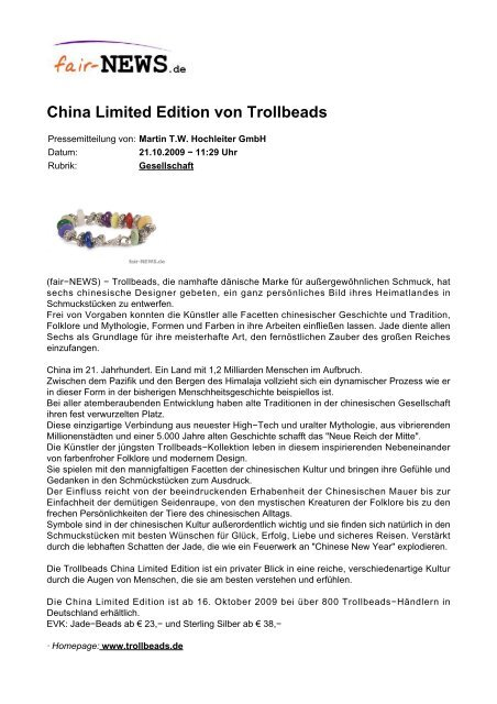 PDF :: fair-NEWS.de :: China Limited Edition von Trollbeads