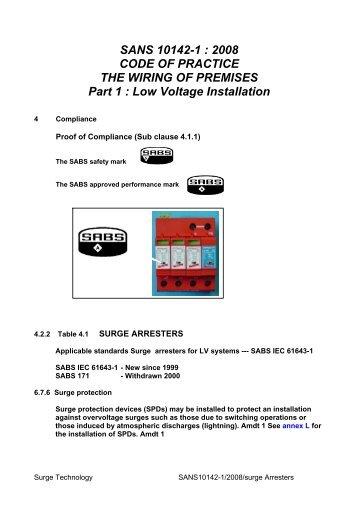 sans 10142 1 2003 code of practice the surgetek rh yumpu com wiring code sans 10142-1 textbook Home Electrical Wiring Codes