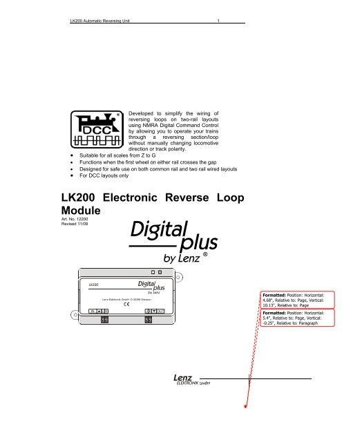Lk200 Electronic Reverse Loop Module Lenz Usa