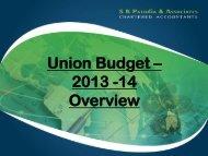 Union Budget – 2013 -14 Overview - SK Patodia & Associates