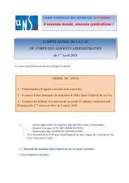 2010 1er avril CAP des Adjoints Administratifs ... - UNSA-Itefa