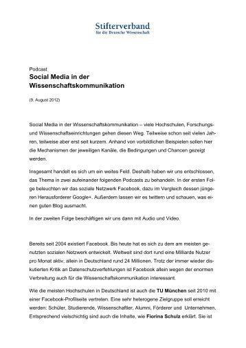 Social Media in der Wissenschaftskommunikation - Stifterverband ...