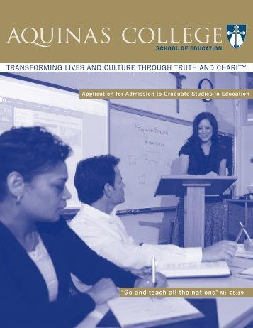 Graduate Studies in Education Application - Aquinas College