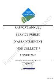 Rapport du SPANC - Communauté de Communes du Pays de Falaise