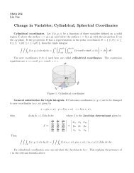 Change in Variables; Cylindrical, Spherical Coordinates