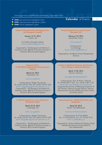 Calendar of Events - European Federation for Medicinal Chemistry