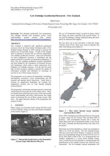 Low Enthalpy Geothermal Research – New Zealand - GNS Science