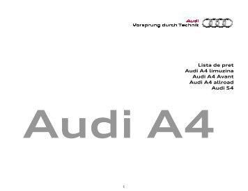 Lista pret A4_01.03.2012 - Audi Romania