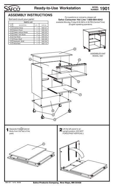 Ready-to-Use Workstation ASSEMBLY INSTRUCTIONS
