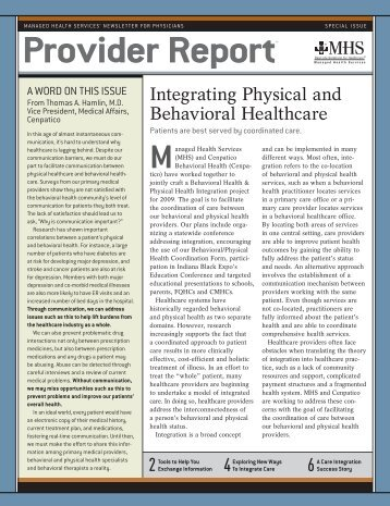 2 4 6 Integrating Physical and Behavioral Healthcare - MHS Indiana