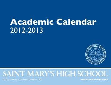 Academic Calendar 12-13 - St. Mary's Roman Catholic Church