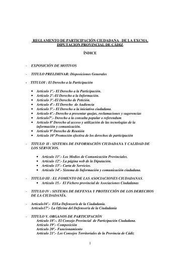 Descargar Reglamento de Participación Ciudadana - Diputación de ...