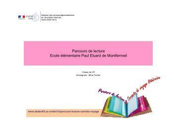Parcours de lecture Ecole élémentaire Paul Eluard de Montfermeil