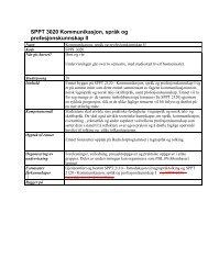 SPPT 3020 Kommunikasjon, språk og profesjonskunnskap II