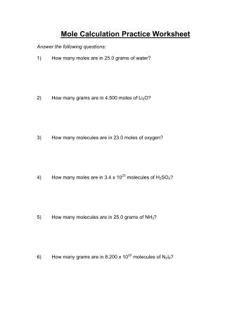 Worksheet Mole Calculation Worksheet more mole calculation practice worksheet intrepidpath jpg quality 80