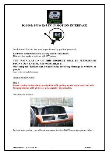 IC-8002: BMW E65 TV IN MOTION INTERFACE - Novosonic
