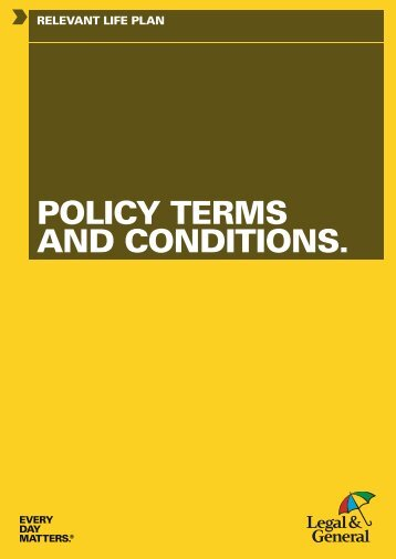 Relevant Life Plan Terms and Conditions (W13622) - Legal & General